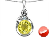 Original Star K™ Loving Mother With Child Family Large Pendant With Round 10mm Simulated Yellow Sapphire