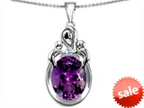 Original Star K™ Large Loving Mother With Twin Children Pendant With Oval Simulated Amethyst 11x9mm