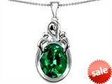 Original Star K™ Large Loving Mother Twin Children Pendant With Oval Simulated Emerald 11x9mm