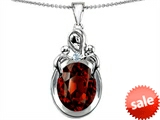 Original Star K™ Large Loving Mother Twin Children Pendant With Oval Simulated Garnet 11x9mm