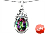 Original Star K™ Large Loving Mother Twin Children Pendant With Oval Mystic Topaz 11x9mm