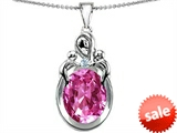 Original Star K™ Large Loving Mother Twin Children Pendant With Oval Created Pink Sapphire 11x9mm