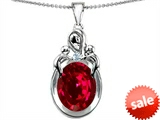 Original Star K™ Loving Loving Mother Twin Children Pendant With Oval Created Ruby 11x9mm style: 304552