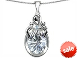 Original Star K™ Loving Mother With Children Pendant With Oval 11x9mm Genuine White Topaz