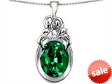 Original Star K™ Large Loving Mother Twin Family Pendant With Oval Simulated Emerald 11x9mm