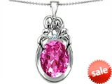 Original Star K™ Large Loving Mother Twin Family Pendant With Oval Created Pink Sapphire 11x9mm