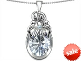 Original Star K™ Loving Mother And Family Pendant With Oval 11x9mm Genuine White Topaz
