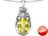 Original Star K™ Large Loving Mother Twin Family Pendant With Oval Simulated Yellow Sapphire 11x9mm style: 304572