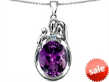 Original Star K™ Loving Mother And Father With Child Pendant With Oval 11x9mm Simulated Amethyst style: 304574
