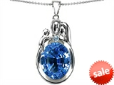 Original Star K™ Loving Mother And Father With Child Pendant With Oval 11x9mm Simulated Aquamarine
