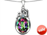 Original Star K™ Loving Mother And Father With Child Pendant With Oval 11x9mm Rainbow Mystic Topaz