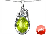 Original Star K™ Loving Mother And Father With Child Pendant With Oval 11x9mm Simulated Peridot