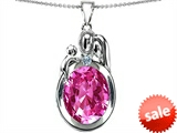 Original Star K™ Loving Mother And Father With Child Pendant With Oval 11x9mm Created Pink Sapphire style: 304584
