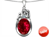 Original Star K™ Loving Mother And Father With Child Pendant With Oval 11x9mm Created Ruby