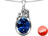 Original Star K™ Loving Mother And Father With Child Pendant With Oval 11x9mm Created Sapphire