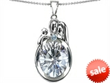 Original Star K™ Loving Mother And Father With Child Pendant With Genuine 11x9 Oval White Topaz