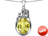 Original Star K™ Loving Mother And Father With Child Pendant With Oval 11x9mm Simulated Yellow Sapphire style: 304589