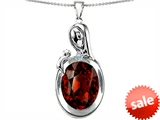 Original Star K™ Loving Mother With Child Family Pendant With Oval 11x9mm Simulated Garnet
