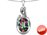 Original Star K™ Loving Mother With Child Family Pendant With Oval 11x9mm Mystic Topaz