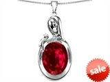 Original Star K™ Loving Mother With Child Family Pendant With Oval 11x9mm Created Ruby style: 304603