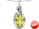 Original Star K™ Loving Mother With Child Family Pendant With Oval 11x9mm Simulated Yellow Sapphire