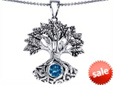 Celtic Love by Kelly Tree Of Life Good Luck Pendant With 7mm Round Simulated Blue Topaz