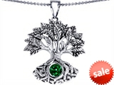 Celtic Love by Kelly Tree Of Life Good Luck Pendant With 7mm Round Simulated Emerald