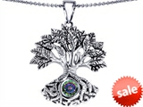 Celtic Love by Kelly Tree Of Life Good Luck Pendant With 7mm Round Rainbow Mystic Topaz
