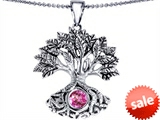 Celtic Love by Kelly Tree Of Life Good Luck Pendant With 7mm Round Created Pink Sapphire