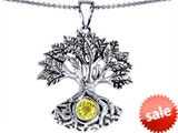Celtic Love by Kelly Tree Of Life Good Luck Pendant With 7mm Round Simulated Yellow Sapphire