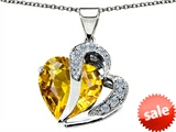 Original Star K™ Heart Shape 12mm Simulated Citrine Pendant