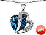 Original Star K™ Heart Shape 12mm Simulated Blue Topaz Pendant