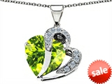 Original Star K™ Heart Shape 12mm Simulated Peridot Pendant