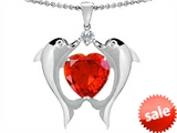 Original Star K™ Kissing Dolphins Pendant With Heart Shape 8mm Simulated Mexican Orange Fire Opal