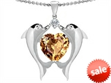 Original Star K™ Kissing Love Dolphins Pendant With Heart Shape 8mm Simulated Imperial Yellow Topaz style: 304679