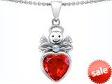 Original Star K™ Love Angel Pendant with 10mm Simulated Orange Mexican Fire Opal Heart style: 304699