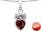 Original Star K™ Love Angel Pendant With 10mm Simulated Garnet Heart