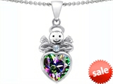 Original Star K™ Love Angel Pendant with 10mm Multicolor Mystic Topaz Heart