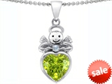 Original Star K™ Love Angel Pendant With 10mm Simulated Peridot Heart style: 304703