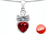 Original Star K™ Love Angel Pendant with 10mm Created Ruby Heart
