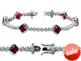 Original Star K™ High End Tennis Bracelet With 6pcs 7mm Cushion Cut Genuine Garnet style: 304734