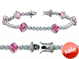 Original Star K™ High End Tennis Bracelet With 6pcs 7mm Cushion Cut Created Pink Sapphire