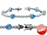 Original Star K™ High End Tennis Bracelet With 6pcs 7mm Heart Shape Simulated Blue Topaz style: 304760