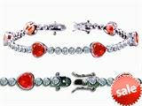 Original Star K™ High End Tennis Bracelet With 6pcs 7mm Heart Shape Simulated Mexican Fire Opal