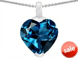 Original Star K™ 10mm Heart Shaped Simulated Blue Topaz Pendant style: 304784