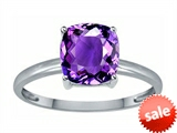 Tommaso Design™ Genuine Amethyst 7mm Cushion Cut Solitaire Engagement Ring