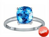Tommaso Design™ Genuine Blue Topaz 7mm Cushion Cut Solitaire Engagement Ring
