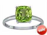 Tommaso Design™ Genuine Peridot 7mm Cushion Cut Solitaire Engagement Ring
