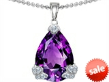 Original Star K™ Large 17x11 Pear Shape Simulated Amethyst Designer Pendant