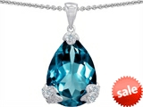 Original Star K™ Large 11x17 Pear Shape Simulated Blue Topaz Designer Pendant